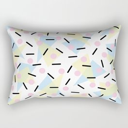Funky Memphis Confetti Party Pattern Blue Pink Yellow Rectangular Pillow