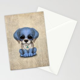 Cute Puppy Dog with flag of Nicaragua Stationery Cards