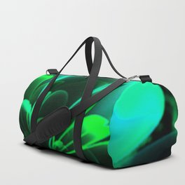 Stylized Half Flower Green Duffle Bag