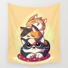 Cat Stack Doodle Wall Tapestry
