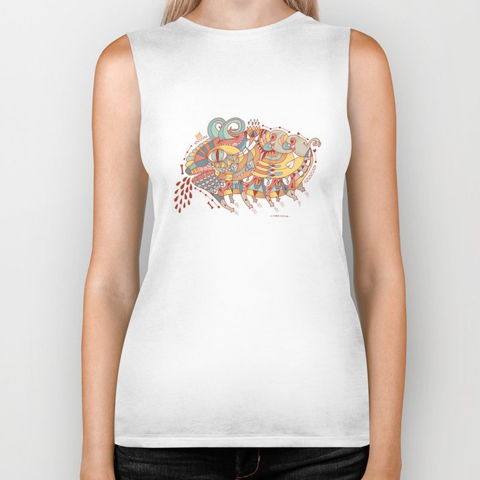 Goat Pig Monster Biker Tank
