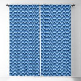 Flame stitch scallops blue Blackout Curtain