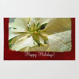 Pale Yellow Poinsettia 1 Happy Holidays P5F1 Rug