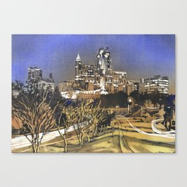 Watercolor painting of skyline of downtown Raleigh, NC at sunrise.  Watercolor painting Raleigh Canvas Print