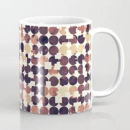 geometric square and circle pattern abstract in brown Coffee Mug
