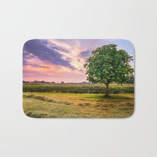 Green Tree and Sunset Sky Bath Mat