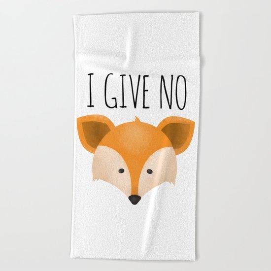 I Give No Fox Beach Towel