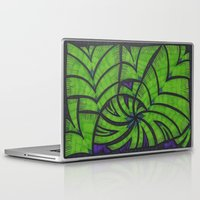 lime green Laptop & iPad Skins featuring Lime Green Flock by Sarah J Bierman