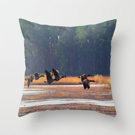 Flying Canadian Geese Throw Pillow