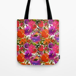 Colorful hand painted watercolor botanical floral Tote Bag