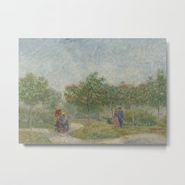 Garden with Courting Couples: Square Saint-Pierre Metal Print