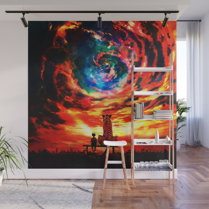 Calvin And Hobbes With Nebula Wall Mural By Desisusanti