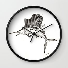 Surfing the fish Wall Clock