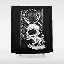 Gothic Skull white ink Shower Curtain