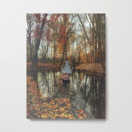 Woman in The Lake Giving the Middle Finger and Fall Colors Metal Print
