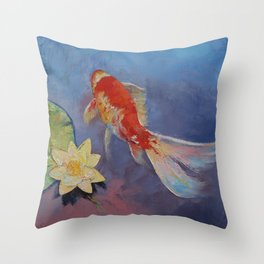Koi on Blue and Mauve Throw Pillow