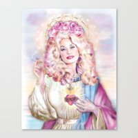 dolly parton Canvas Prints featuring Saint Dolly Parton  by DirtyLola