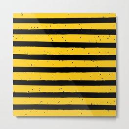 Black Yellow Vintage Stripes Pattern Metal Print