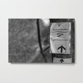 Teutoschleifen Tecklenburger Bergpfad Sign bokeh bw Metal Print