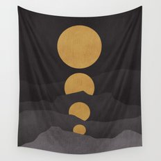 Rise of the golden moon Wall Tapestry