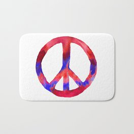 Patriotic Peace Sign Tie Dye Watercolor Bath Mat