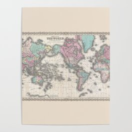 1855 Colton Map of the World on Mercator Projection Poster
