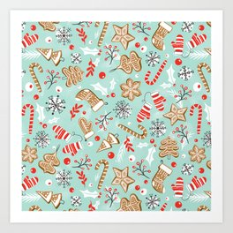 Gingerbread Dreams - Aqua Art Print