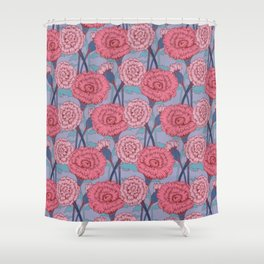 Dark Pink Flowers Pattern Shower Curtain