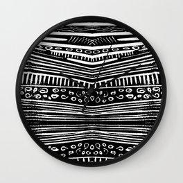 Linocut Tribal Pattern Wall Clock