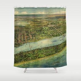 Panoramic view of West Palm Beach, North Palm Beach and Lake Worth, Florida (1915) Shower Curtain