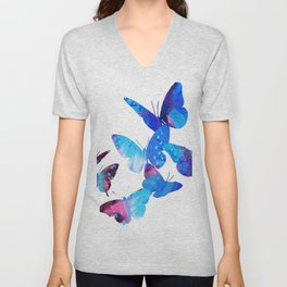 Blue Butterflies Unisex V-Neck