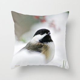 White Winter Chickadee Throw Pillow