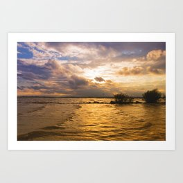 Weather over the lake Art Print