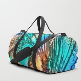 isolate palm tree with painting abstract background in green blue orange Duffle Bag