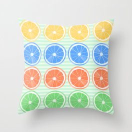 Citrus Fruits Slices Pattern 2 Throw Pillow