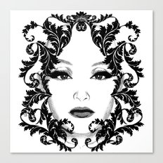 Black and white floral face ornament Canvas Print
