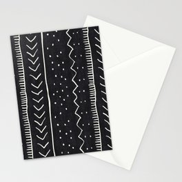 Moroccan Stripe in Black and White Stationery Cards