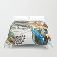 aqua Duvet Covers featuring Aqua by Jenndalyn