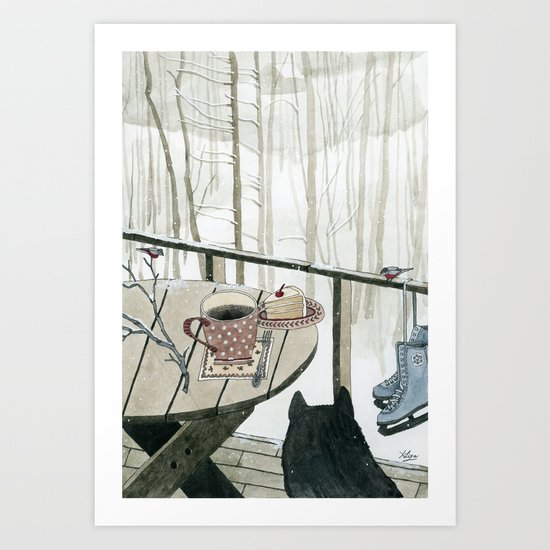 Winter Breakfast on the Porch Art Print