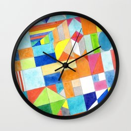 Playful Colorful Architectural Pattern Wall Clock