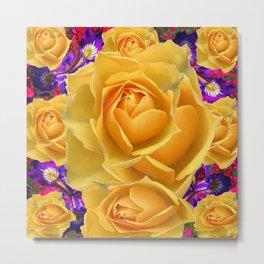 PURPLE ACCENTS GARDEN YELLOW ROSE FLOWERS Metal Print