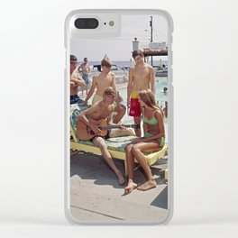1960's Teenagers playing the guitar by the Gondolier Motel pool in Wildwood, NJ Clear iPhone Case