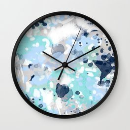 Silva - abstract painting large canvas art print for modern decor cool blue relaxing design urban Wall Clock