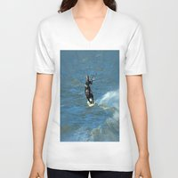 surfer V-neck T-shirts featuring Surfer by Laake-Photos