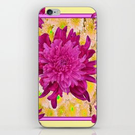 Styalized Art Purple & Yellow Chrysanthemums Floral Garden iPhone Skin