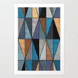 Colorful Concrete Triangles - Blue, Grey, Brown Art Print