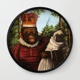 Monkey Queen with Pug Baby Wall Clock