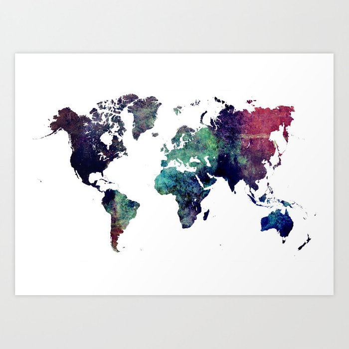 Map of the World After Ice Age Art Print