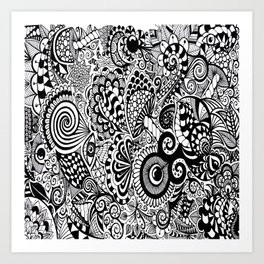 Mushy Madness doodle art Black and White Art Print