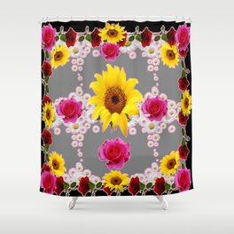 RED ROSES SUNFLOWERS & WHITE DAISIES BLACK VIGNETTE Shower Curtain